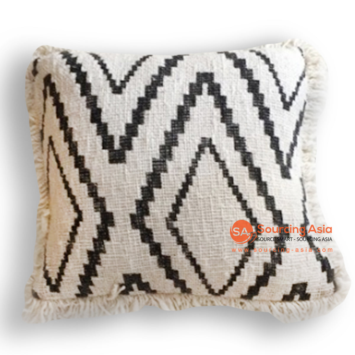 HIP028 SCREEN PRINTED CUSHION WITH FRINGE 50 X 50 CM