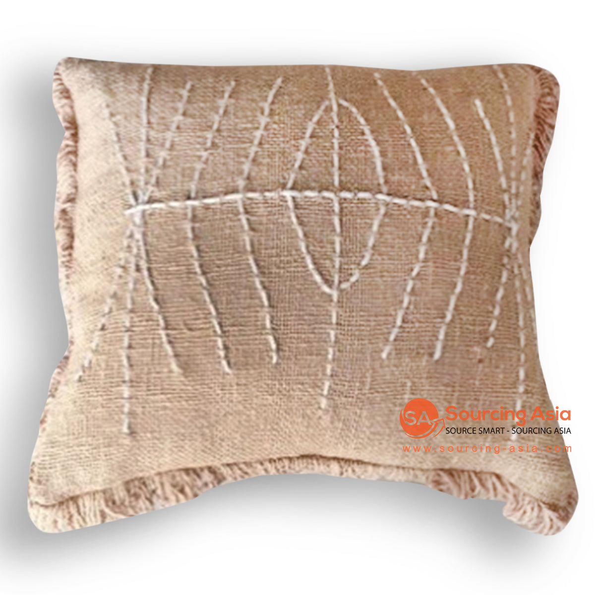 HIP029 HAND STITCHED COVER PILLOW WITH FRINGE 50 X 50 CM