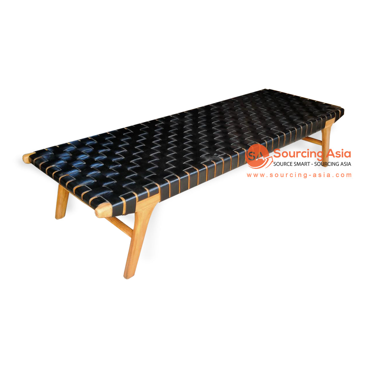 IJF015 WOVEN LEATHER BED END BENCH