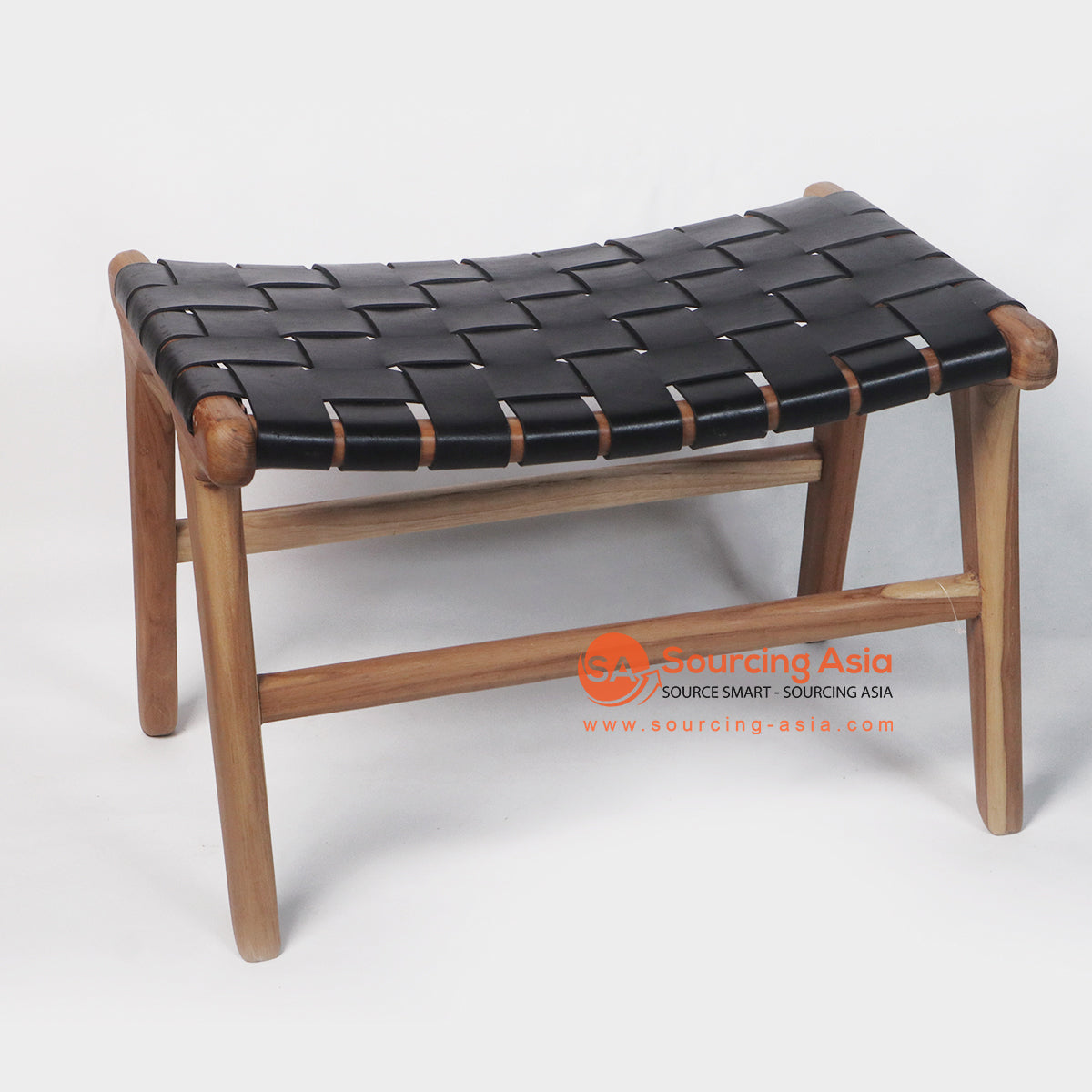 IJF020 STOOL WITH WOVEN BLACK LEATHER