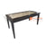 IMAL6 RATTAN INSERT GLASS TOP DINING TABLE