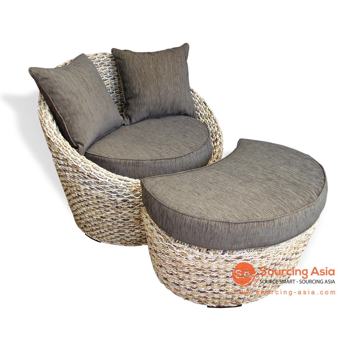 IMALSRF054 RATTAN CASUAL CHAIR AND FOOT STOOL SET