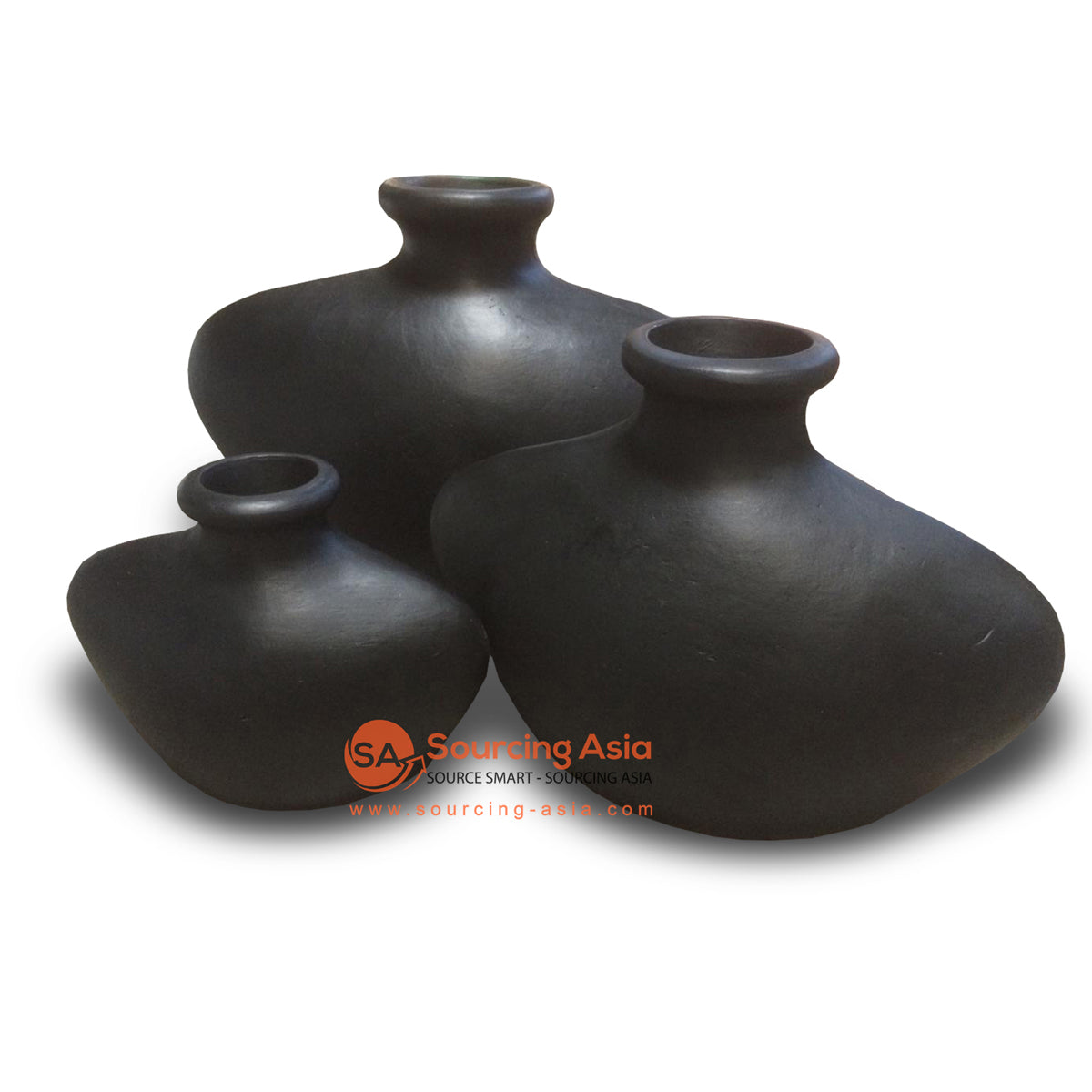 JNP304-BDOP SET OF THREE BLACK WIDE BASE VASE