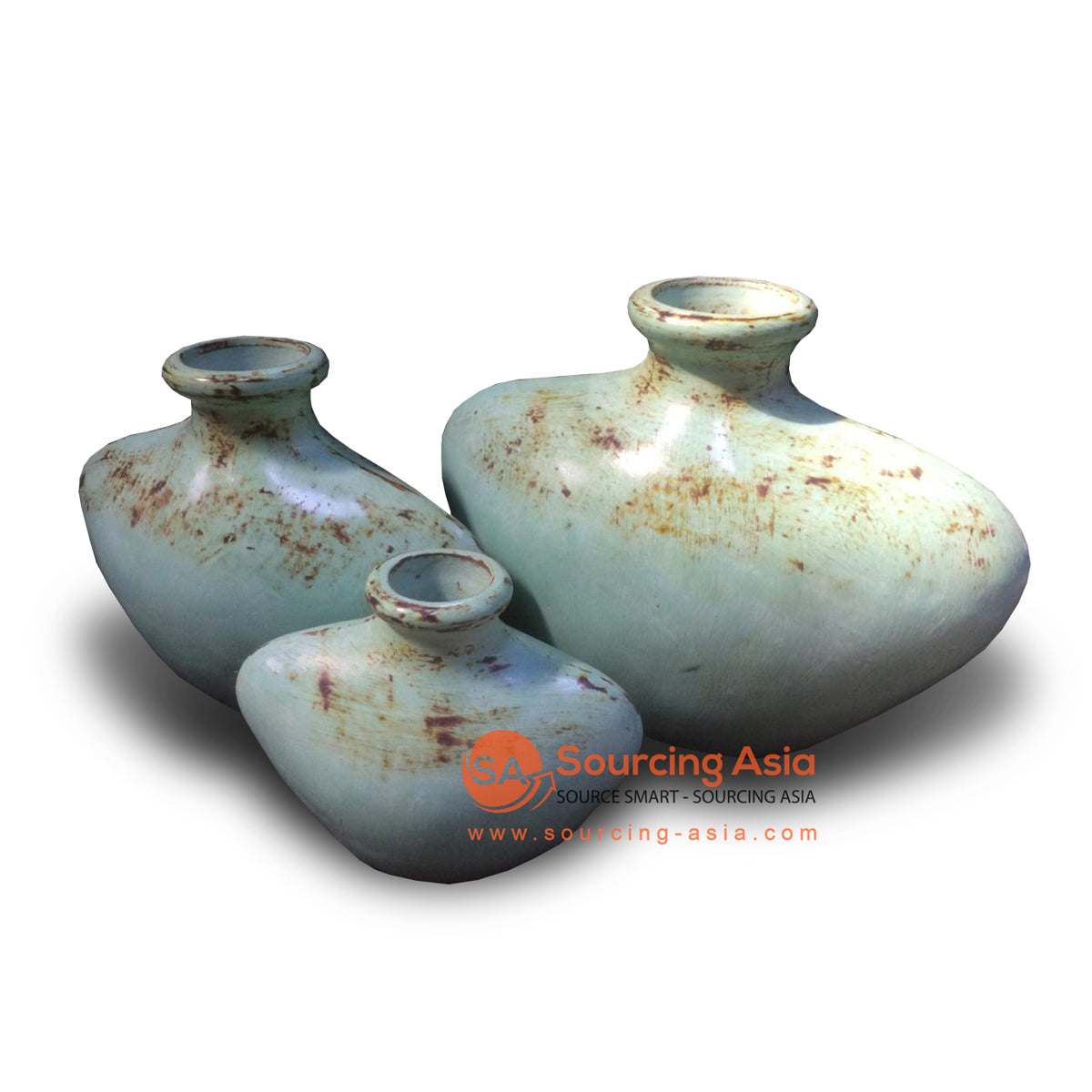 JNP304-KY23 SET OF THREE TURQUOISE VASES