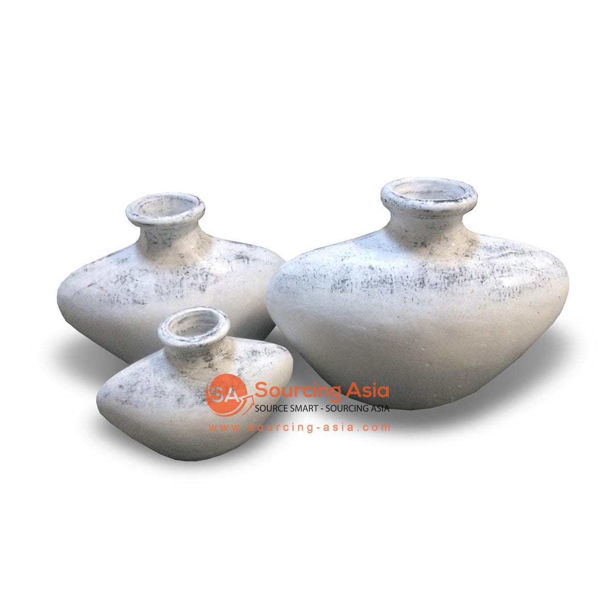 JNP304-KYWWA SET OF THREE WHITE ANTIQUE TERRACOTTA VASES