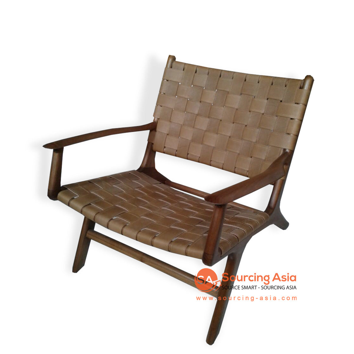 KUSJ002-1 WOVEN LEATHER LAZY CHAIR WITH ARMS