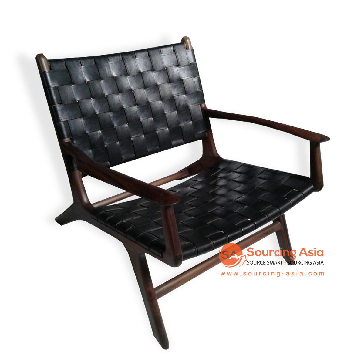 KUSJ002-C2 WOVEN LEATHER LAZY CHAIR WITH ARMS