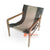 KUSJ035-4 MIXED LEATHER AND FABRIC SLING BACK LAZY CHAIR