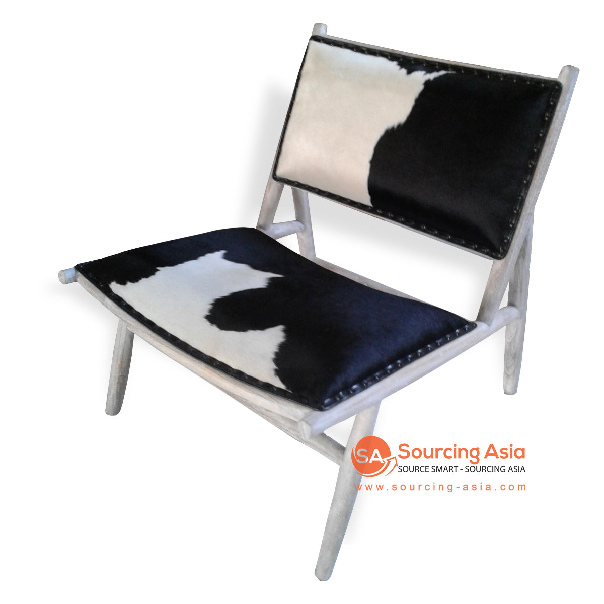 KUSJ084 BLACK AND WHITE COW HIDE LAZY CHAIR