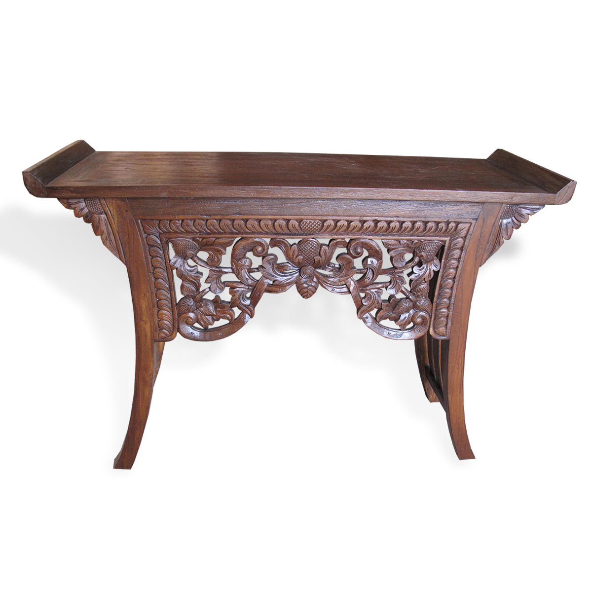 LAC045-1 CARVED RECYCLED TEAK CONSOLE