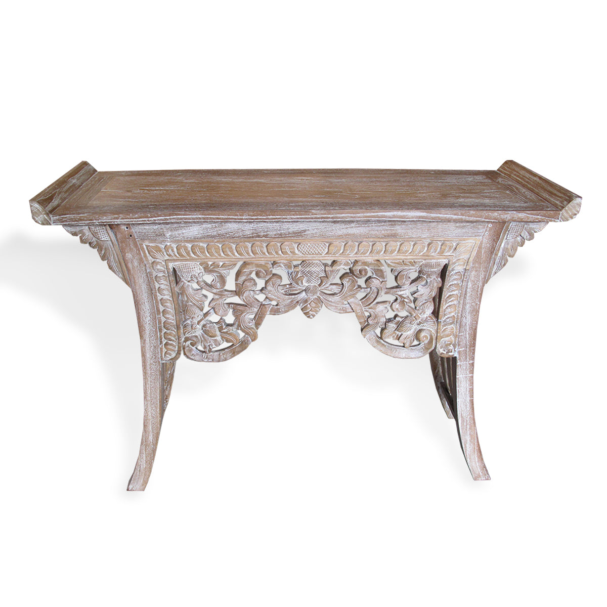 LAC045 CARVED RECYCLED TEAK CONSOLE