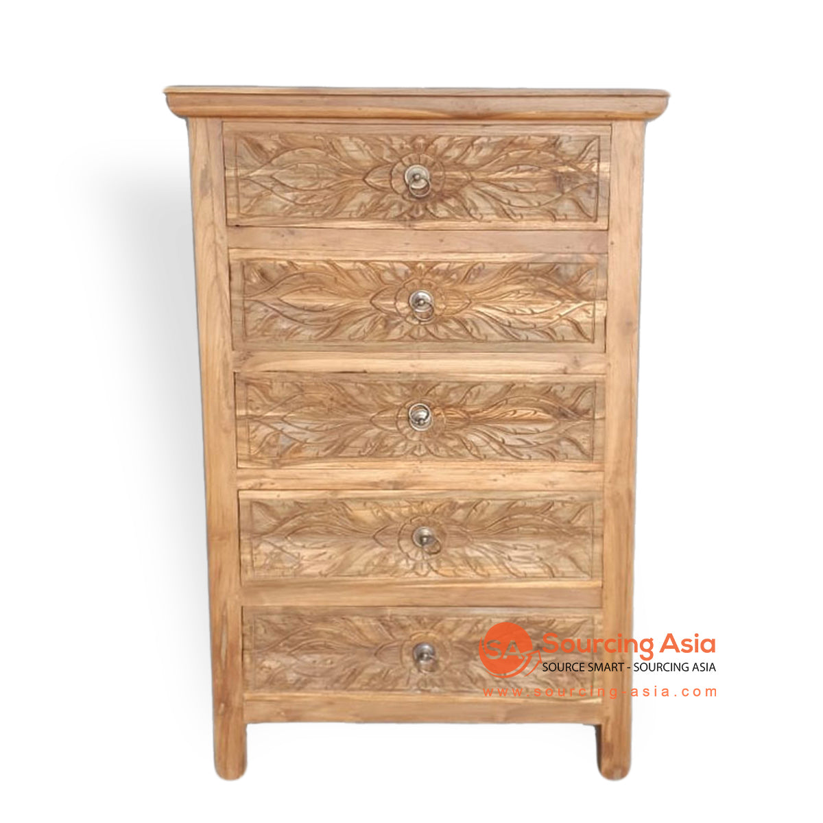 LAC059-1 CARVED 5 DRAWER CHEST OF DRAWERS
