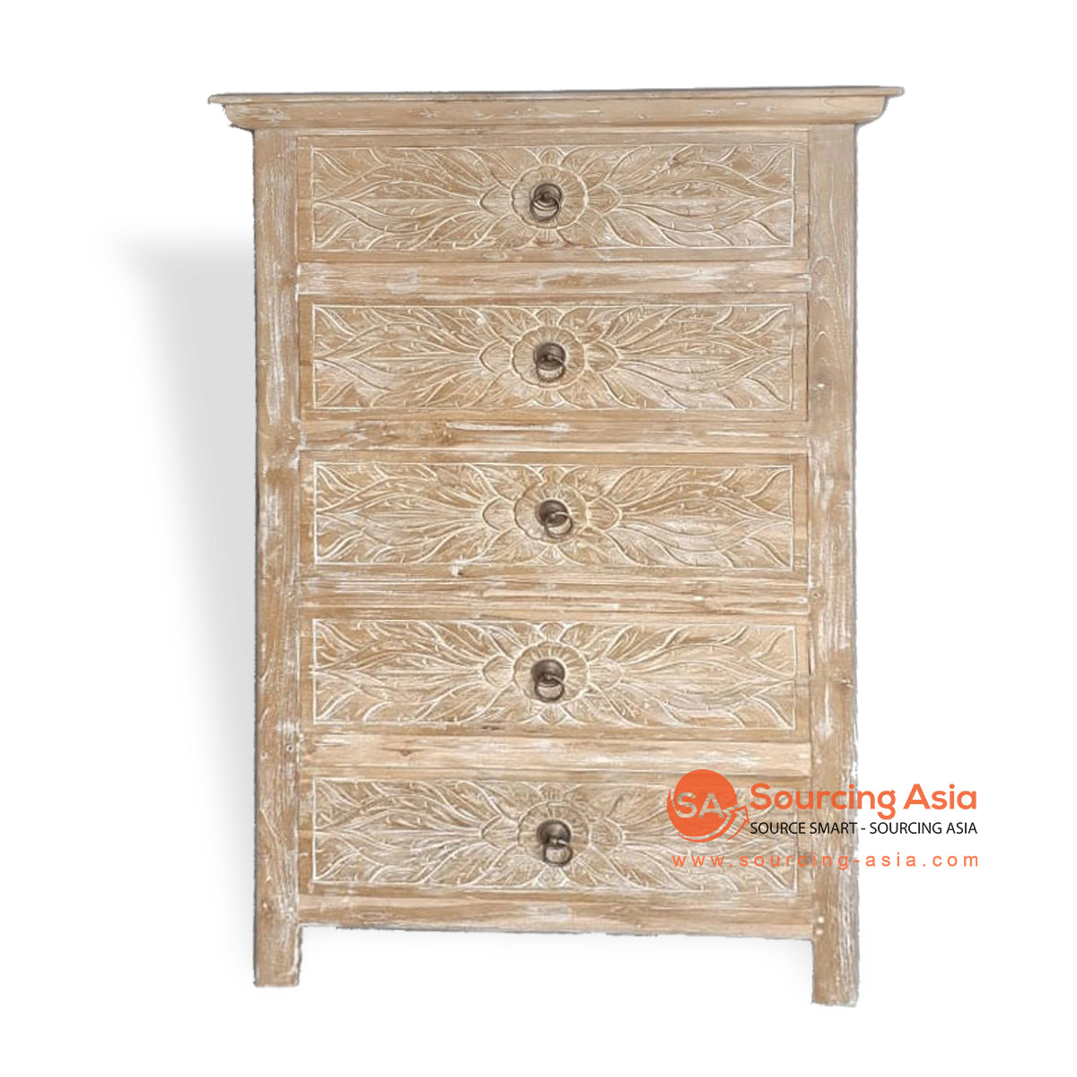LAC059 CARVED 5 DRAWER CHEST OF DRAWERS