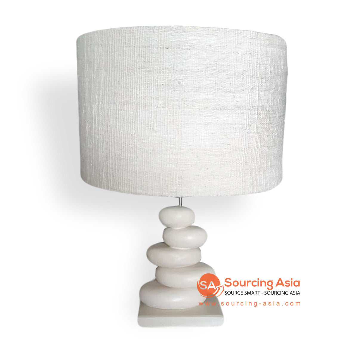 LB-ADS001 WHITE STONE LAMP WITH GUNNY-SACK LAMP SHADE