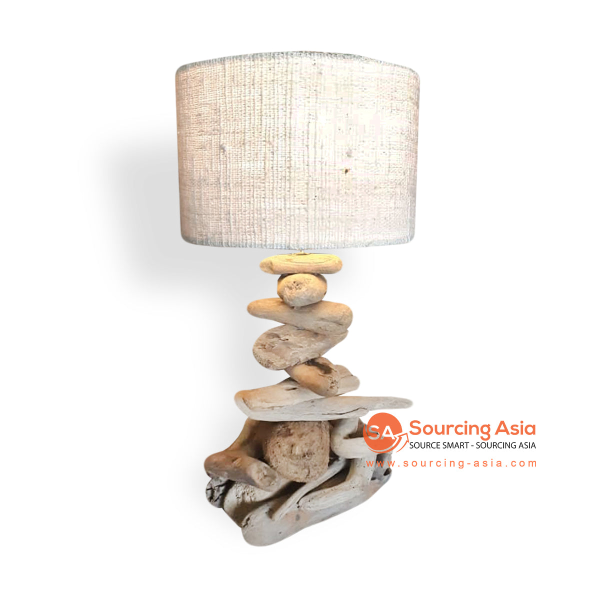 LB034 DRIFTWOOD LAMP WITH VINYL LAMP SHADE