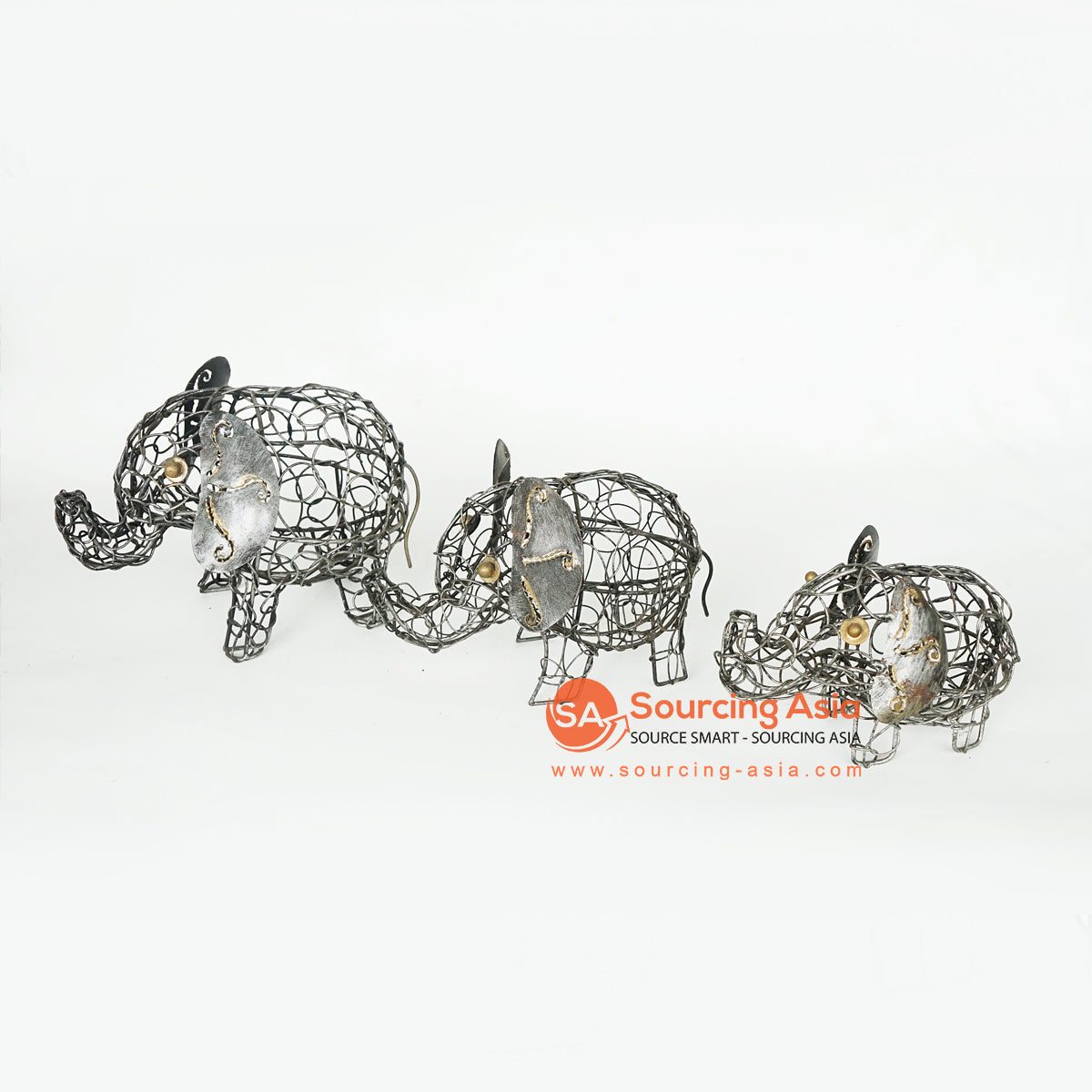 LISC059 SET OF THREE METAL ELEPHANTS DECORATION WITH BLACK HAND PAINTED