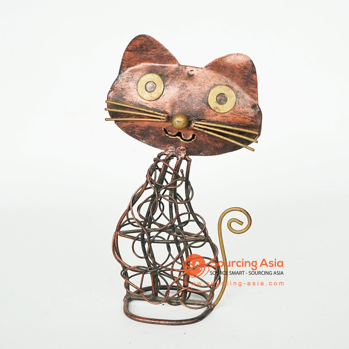 LISC061 HAND PAINTED METAL CAT DECORATION