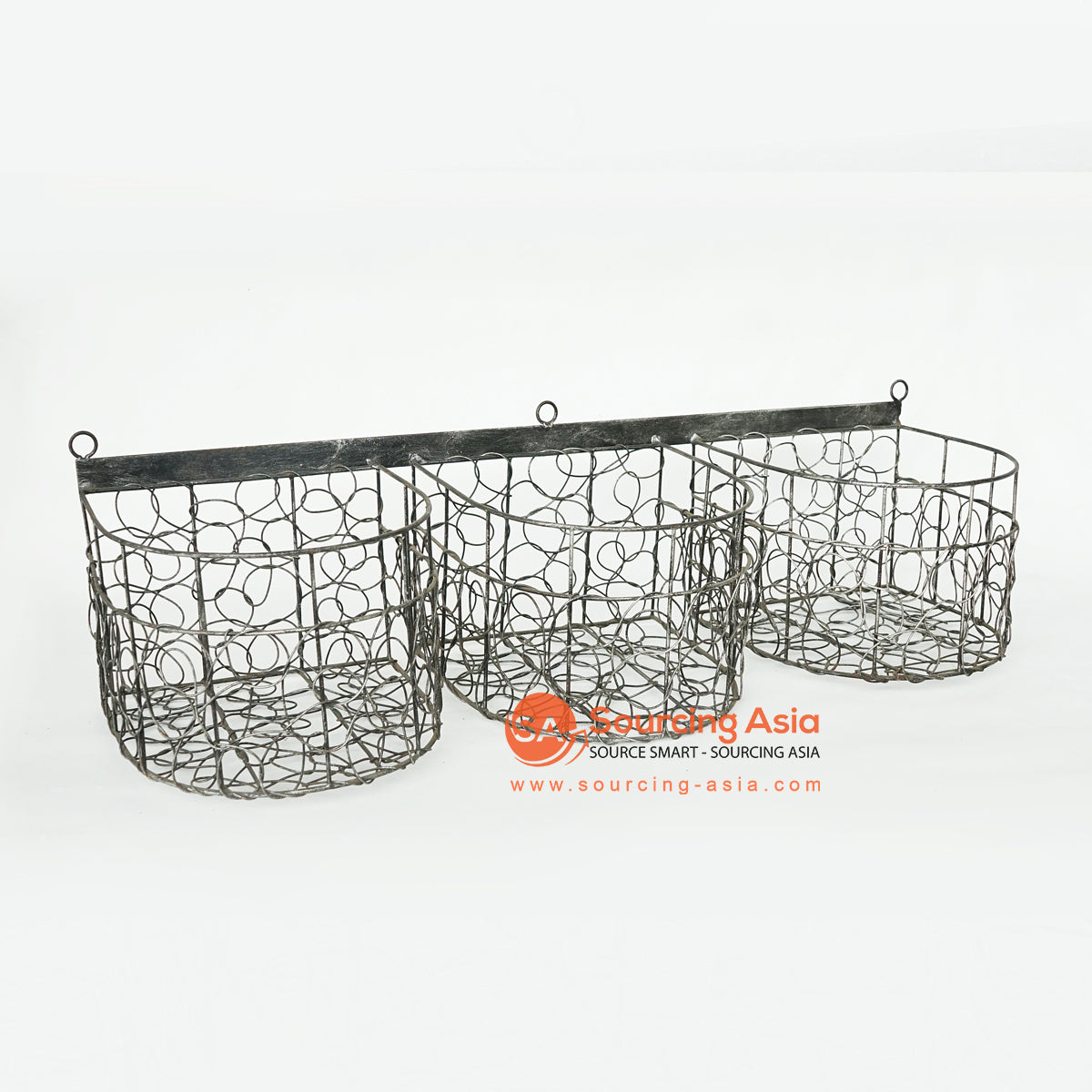 LISC062 THREE BLACK METAL HANGING WIRE BASKETS DECORATION