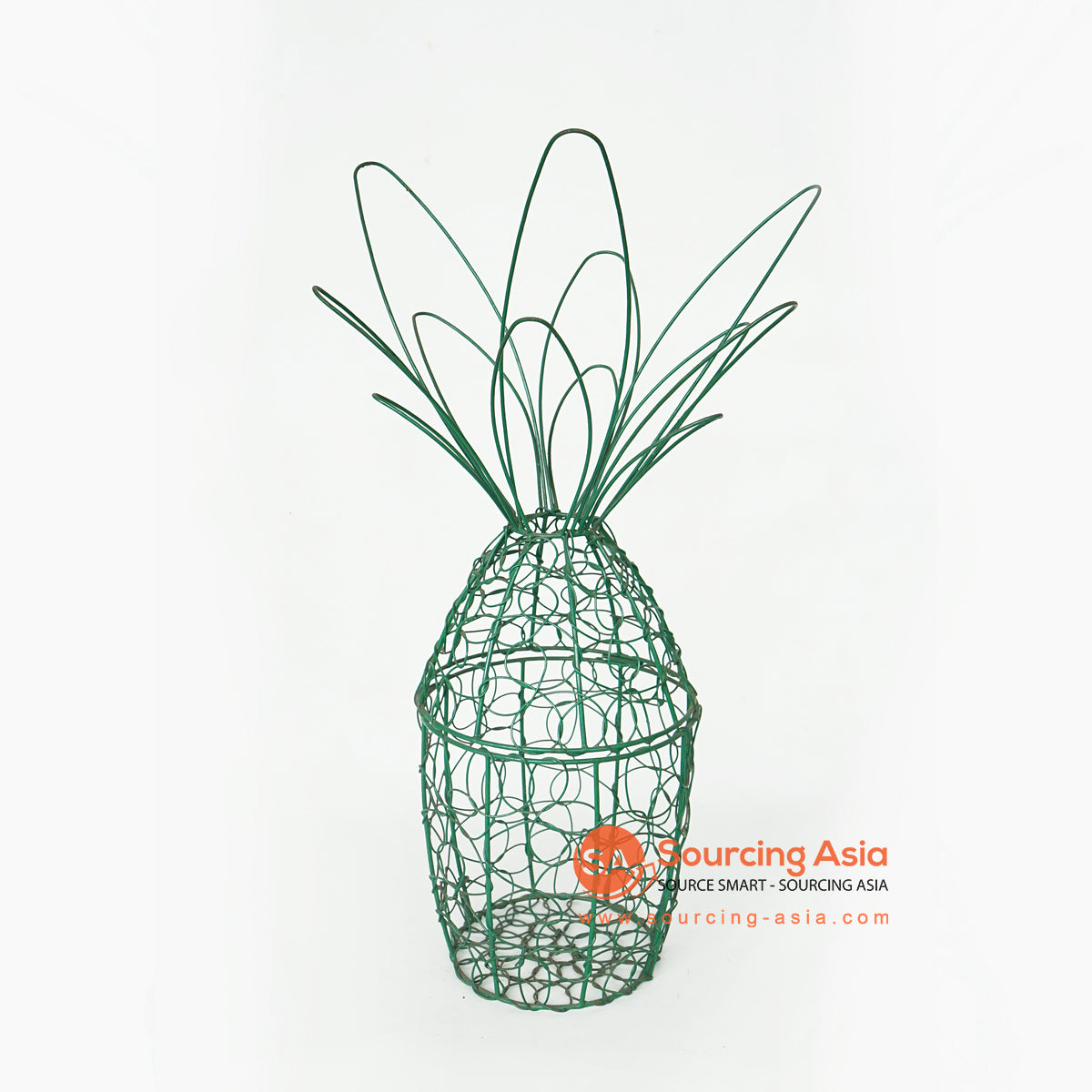 LISC063 HAND PAINTED GREEN METAL PINEAPPLE DECORATION