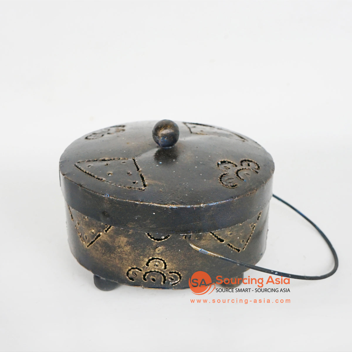 LISC065 HAND PAINTED BLACK GOLD METAL MOSQUITO COIL HOLDER