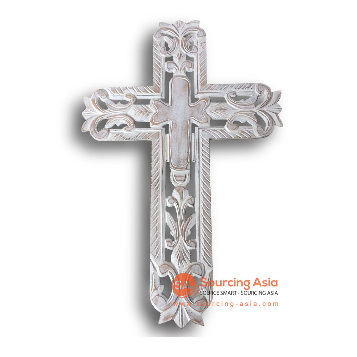 LUH045-1WW WHITE WASHED WOODEN CROSS WITH CARVING