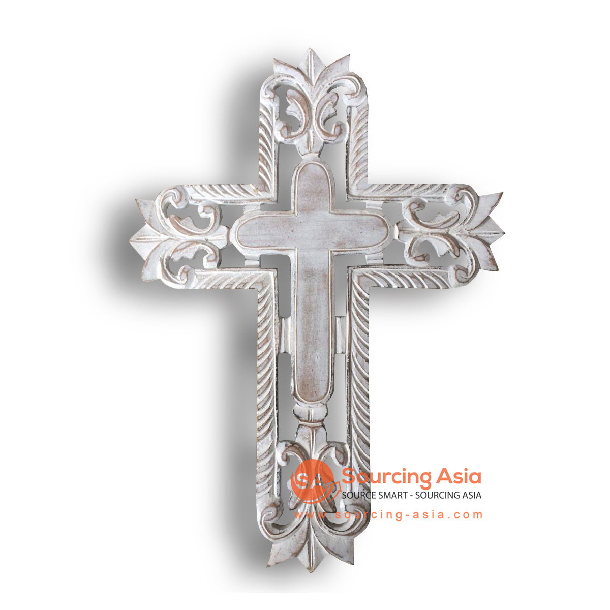 LUH045-2WW WHITE WASHED WOODEN CROSS WITH CARVING