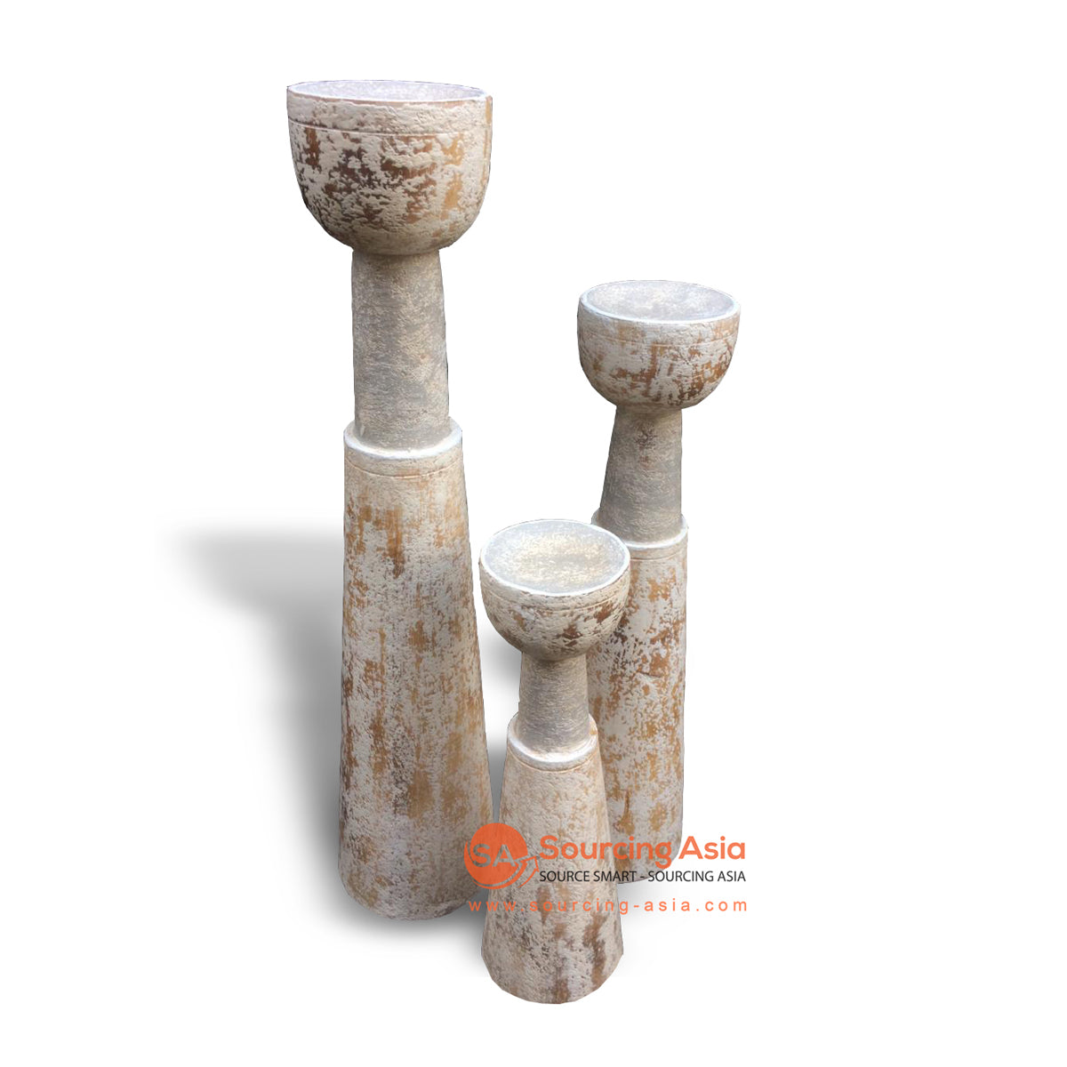 MAN007-1 SET OF THREE WHITE WASH CANDLE HOLDERS