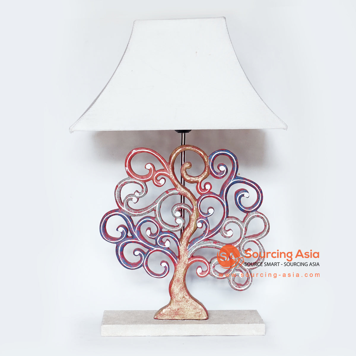 MANC041 TABLE LAMP WITH TREE DECORATION AND WHITE LAMP SHADE