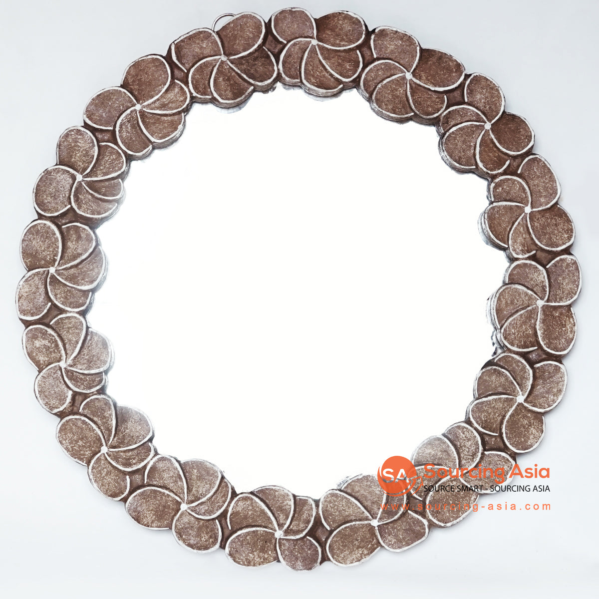 MANC047 ROUND MIRROR WITH FRANGIPANI CARVINGS