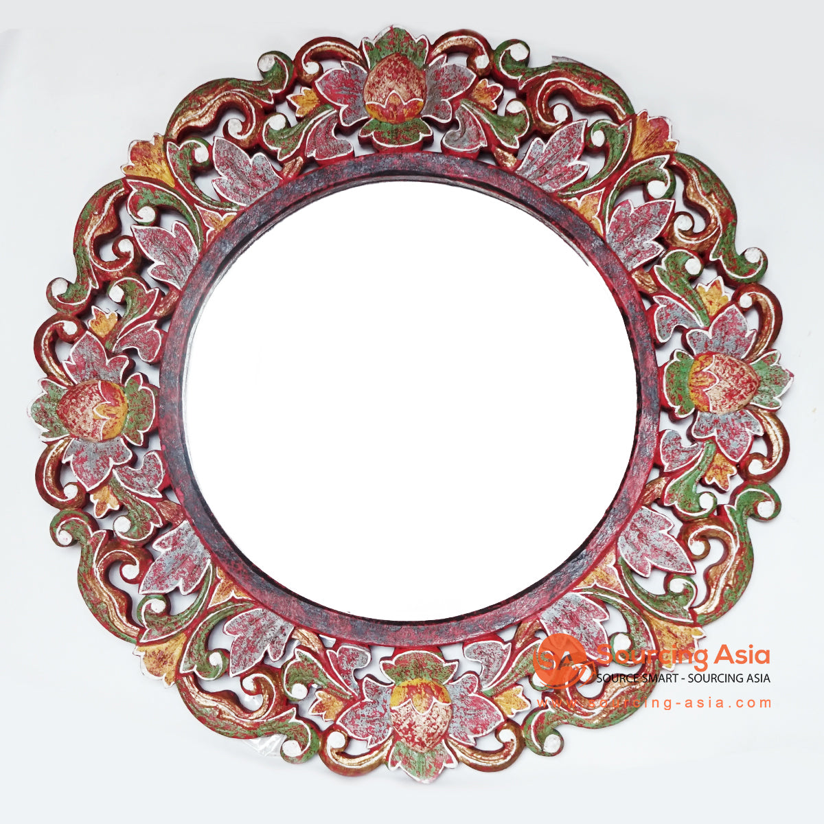 MANC048 CARVED ROUND MIRROR