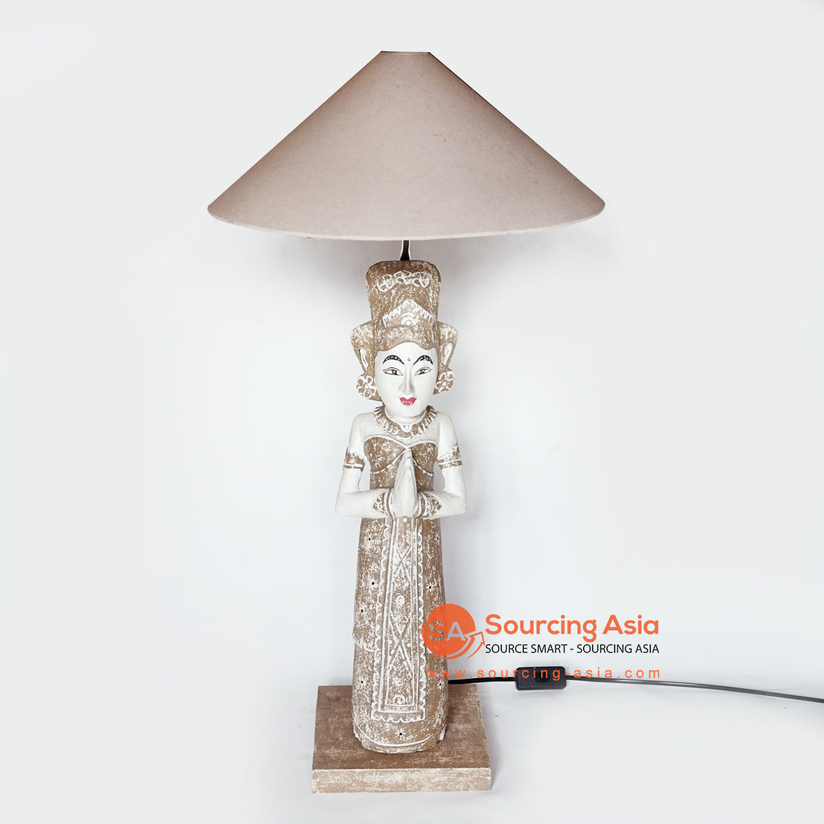 MANC090 STANDING LAMP WITH BALINESE WOMEN STATUE
