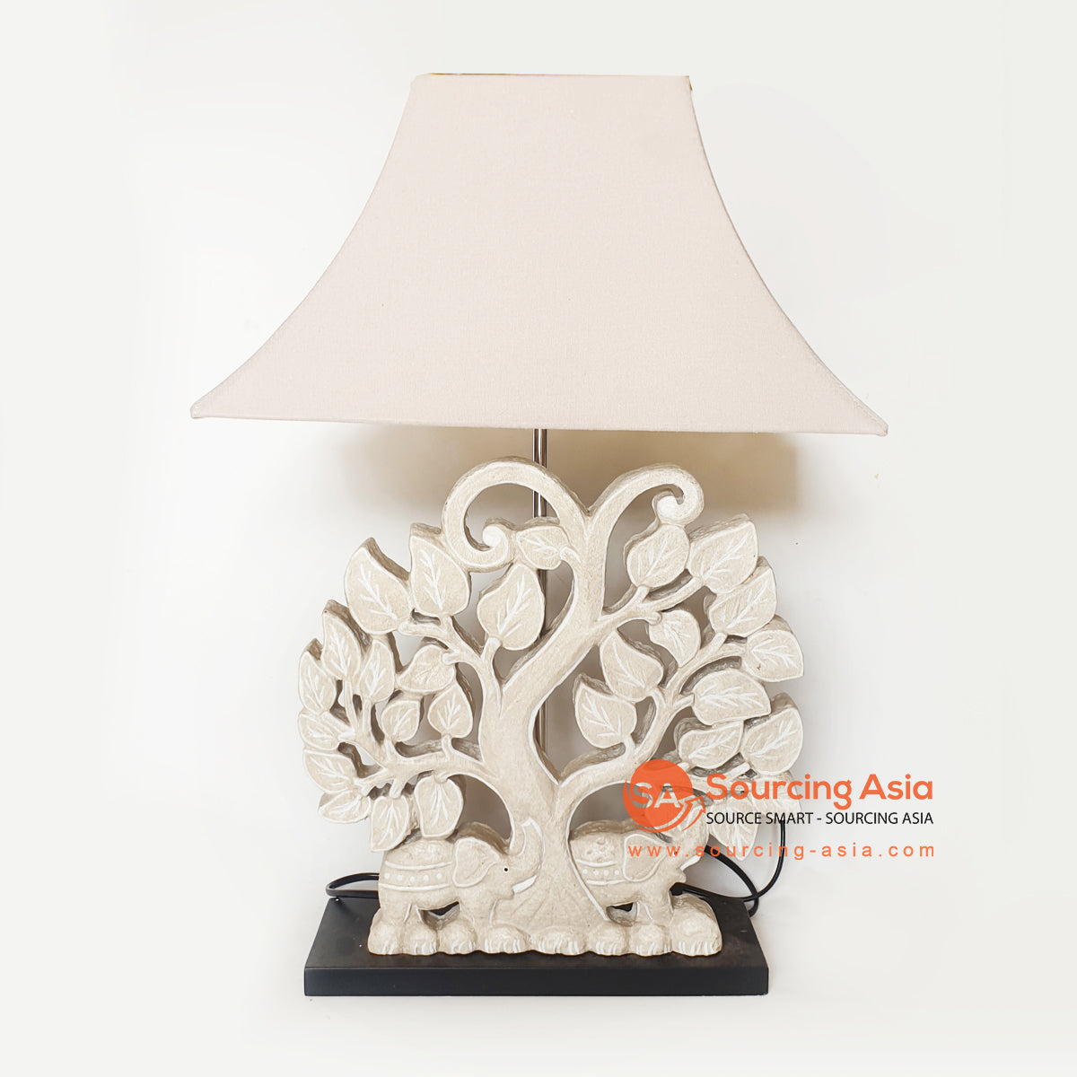 MANC093 TREE CARVING TABLE LAMP WITH WHITE LAMP SHADE