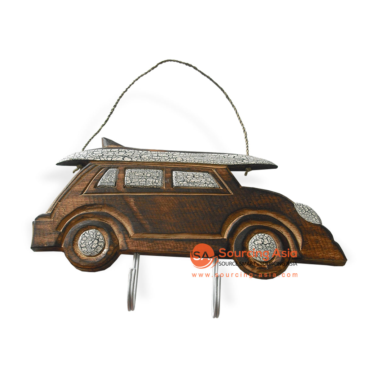 MDC51-1BR WOODEN CAR WITH 2 HOOK