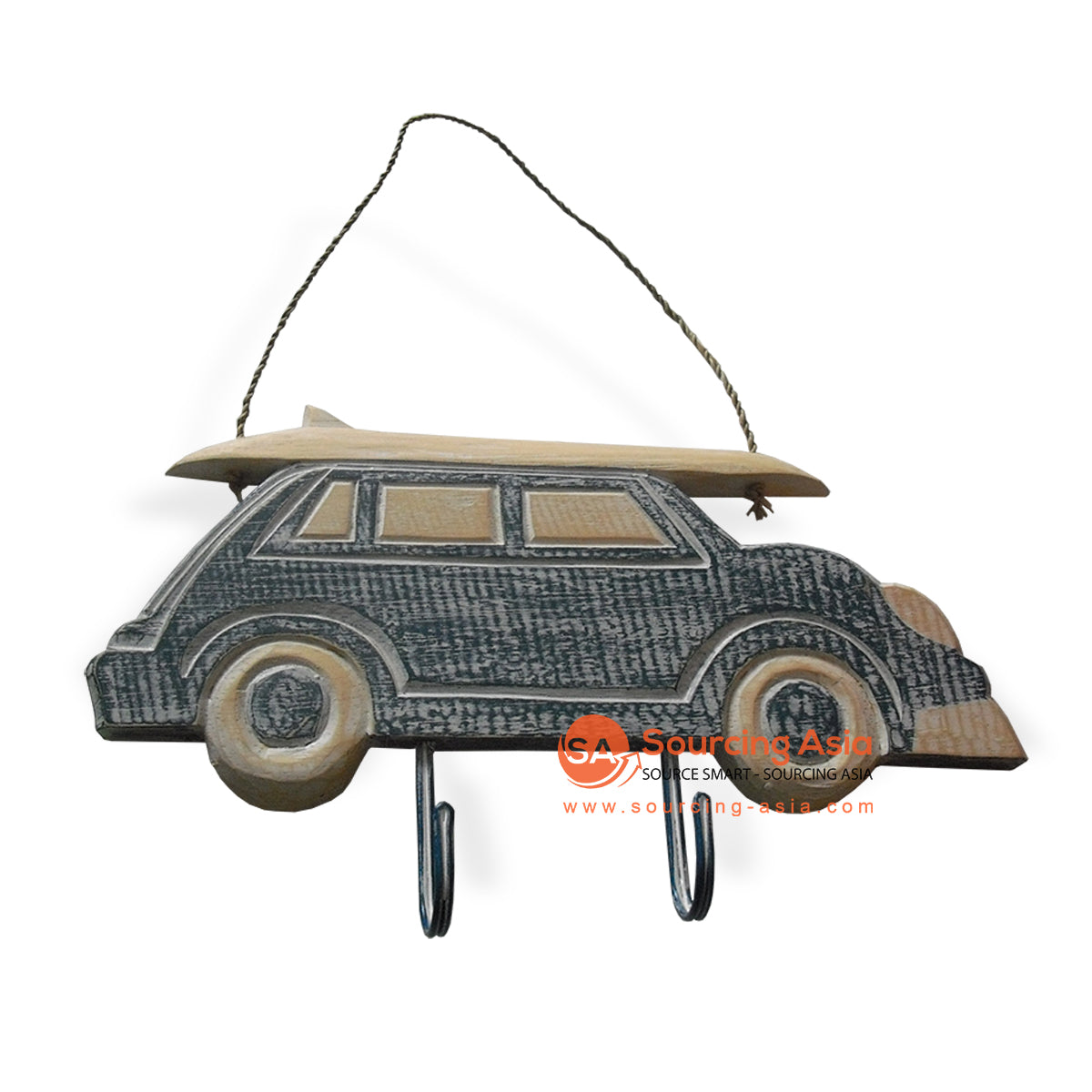 MDC51-1SW WOODEN CAR WITH 2 HOOK
