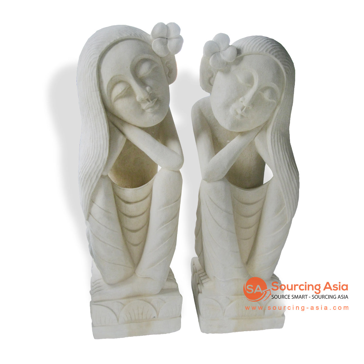 MHB136-1M SET DREAMING LADY LONG HAIR STATUE