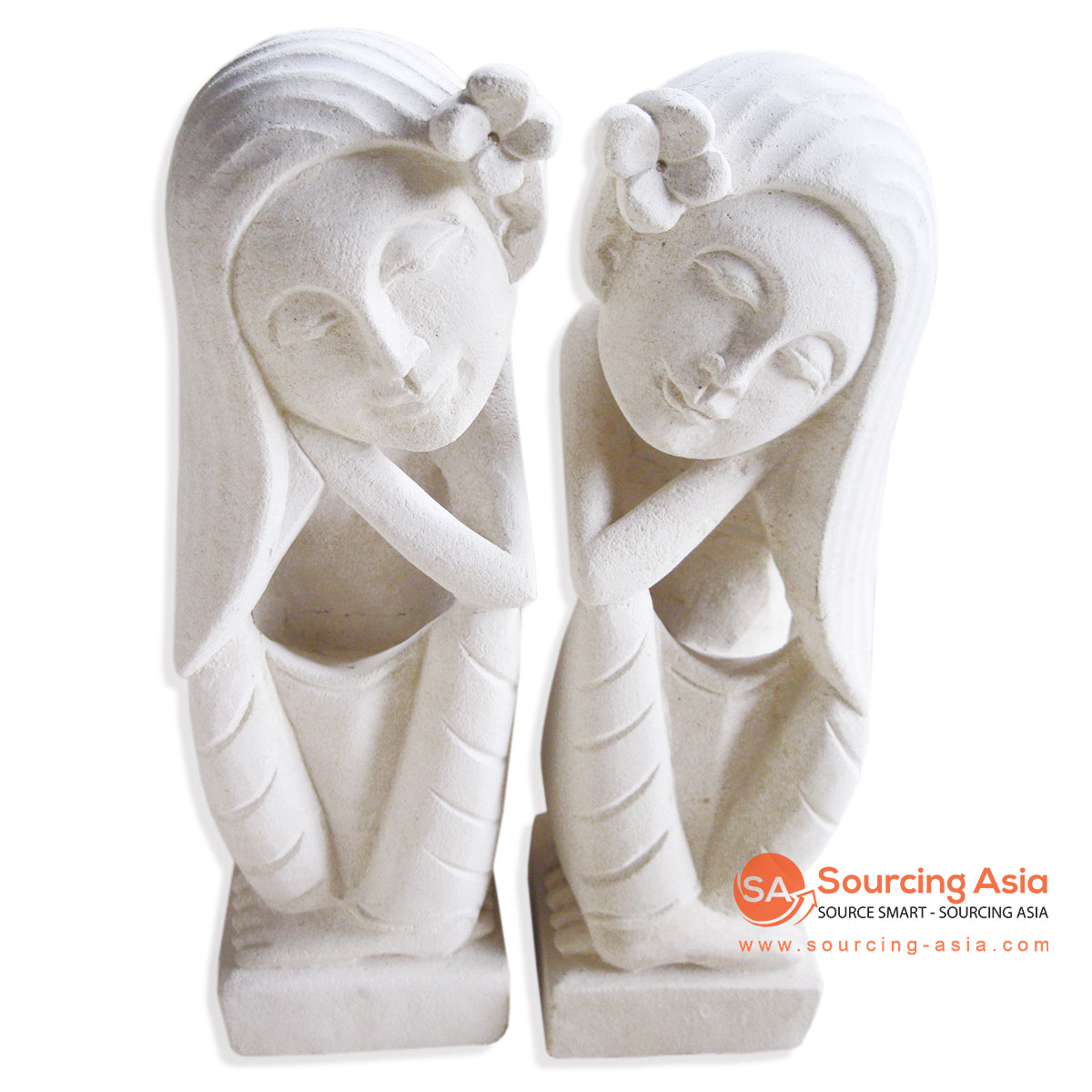 MHB136-20 SET OF 2 DREAMING LADY LONG HAIR STATUE
