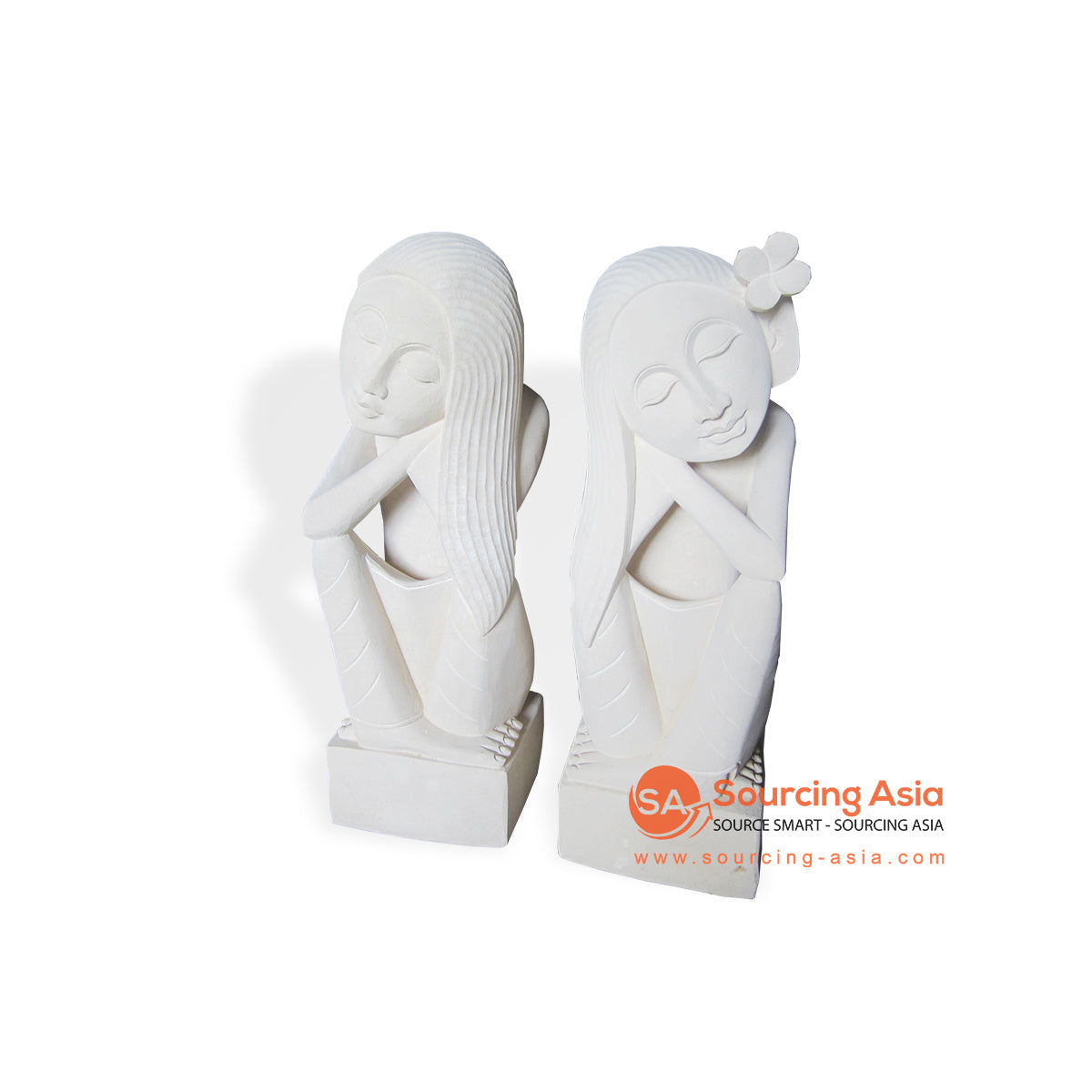 MHB136-60 SET OF 2 DREAMING LADY LONG HAIR STATUE