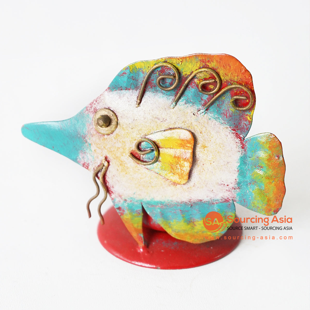MHRC077 HAND PAINTED METAL FISH DECORATION - SIZE: 11X6X9CM
