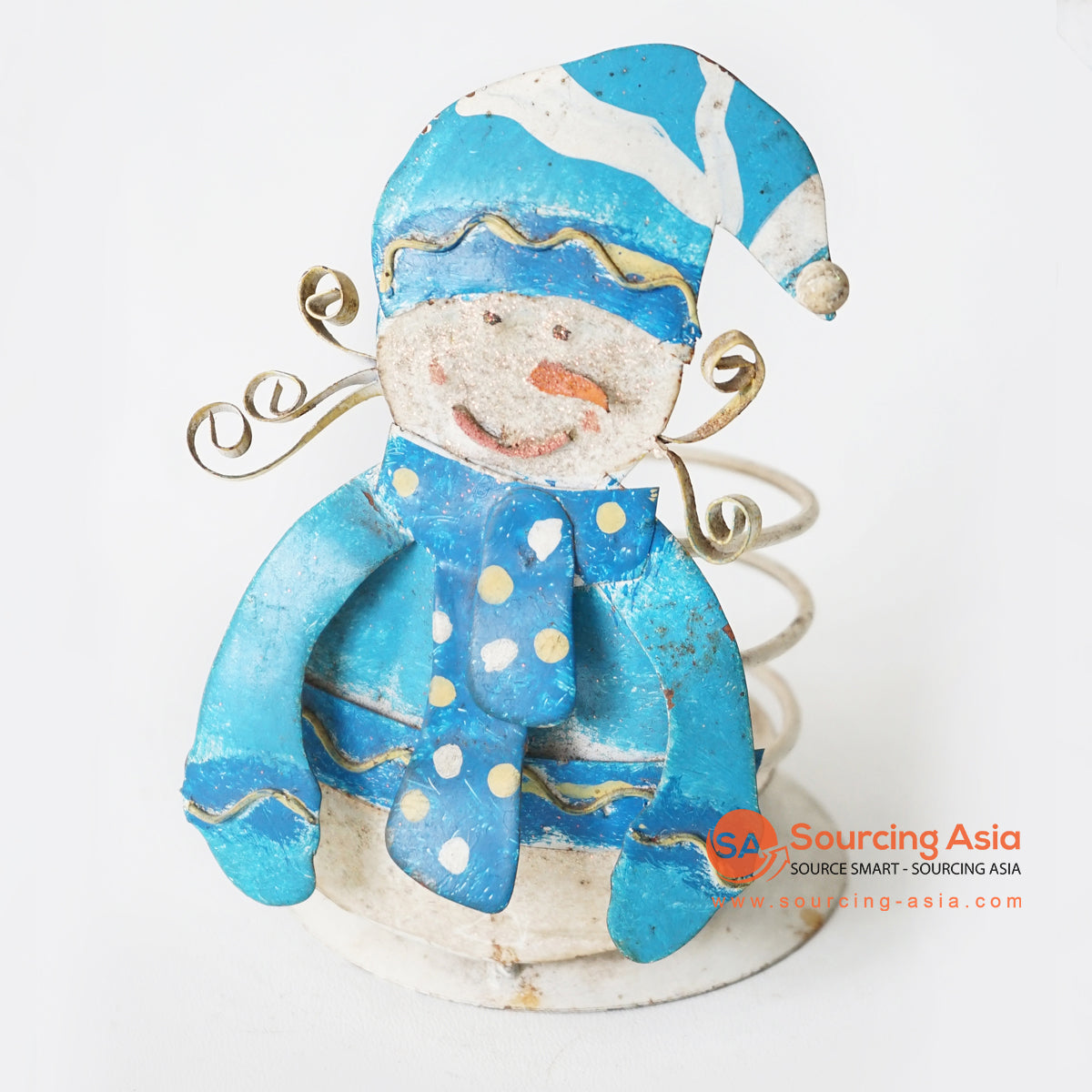 MHRC097 HAND PAINTED METAL CANDLE HOLDER WITH SNOWMAN DECORATION