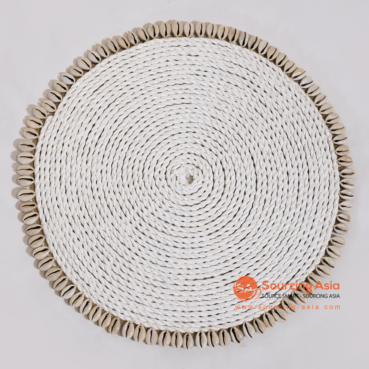 MRC003 WHITE SEAGRASS ROUND COASTER WITH SHELL