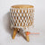 MRC042 WOODEN STOOL WITH WATER HYACINTH SEAT AND WHITE MACRAME