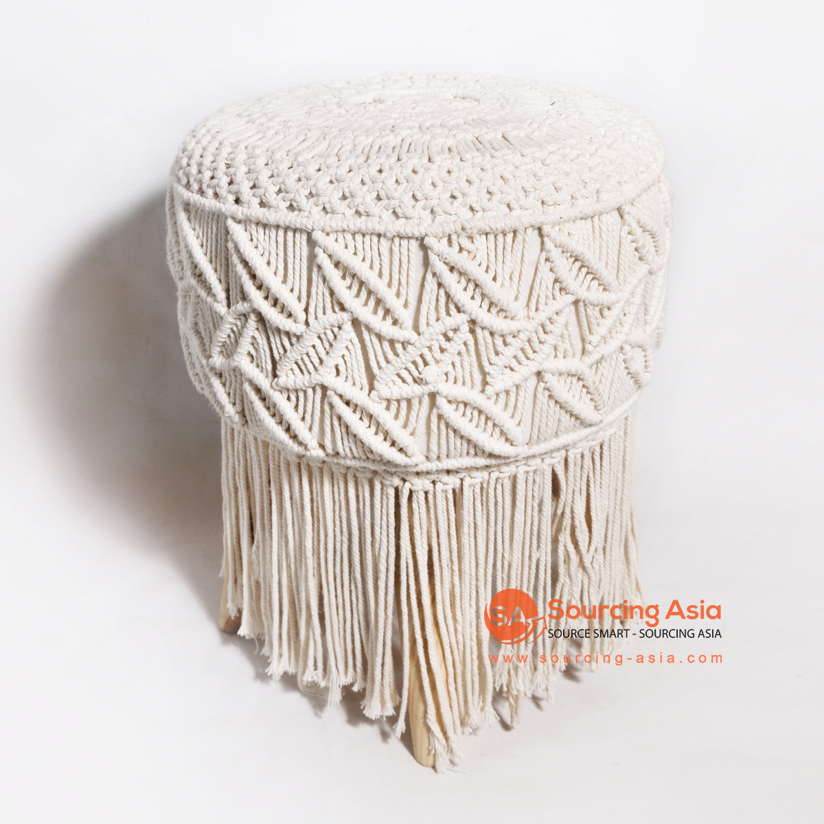 MRC044 WOODEN STOOL WITH WHITE MACRAME