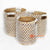 MRC116 SET OF THREE NATURAL BANANA FIBER BASKETS WITH WHITE MACRAME