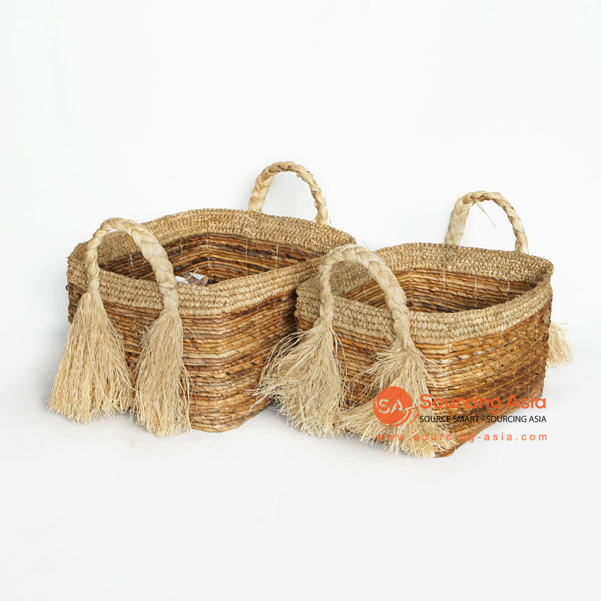 MRC130 SET OF TWO NATURAL BANANA FIBER BASKETS WITH NATURAL RAFFIA EDGES AND HANDLE
