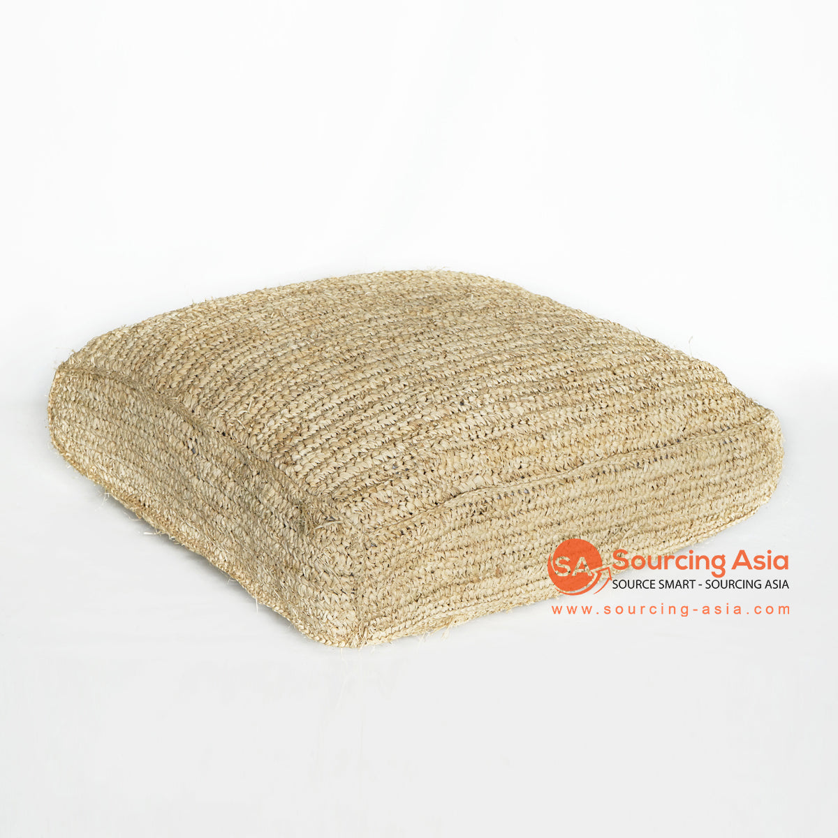 MRC136 NATURAL PALM RAFFIA SQUARE POUFFE