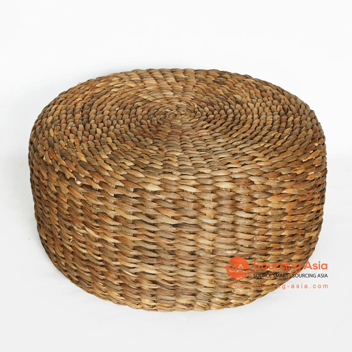 MRC139 NATURAL WATER HYACINTH ROUND POUFFE