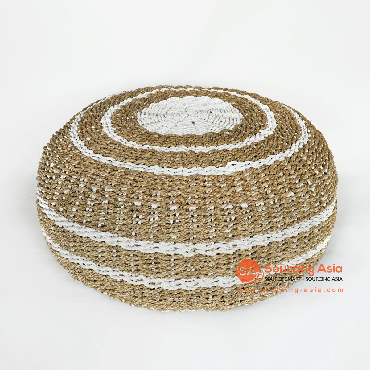 MRC143 NATURAL AND WHITE SEAGRASS POUFFE