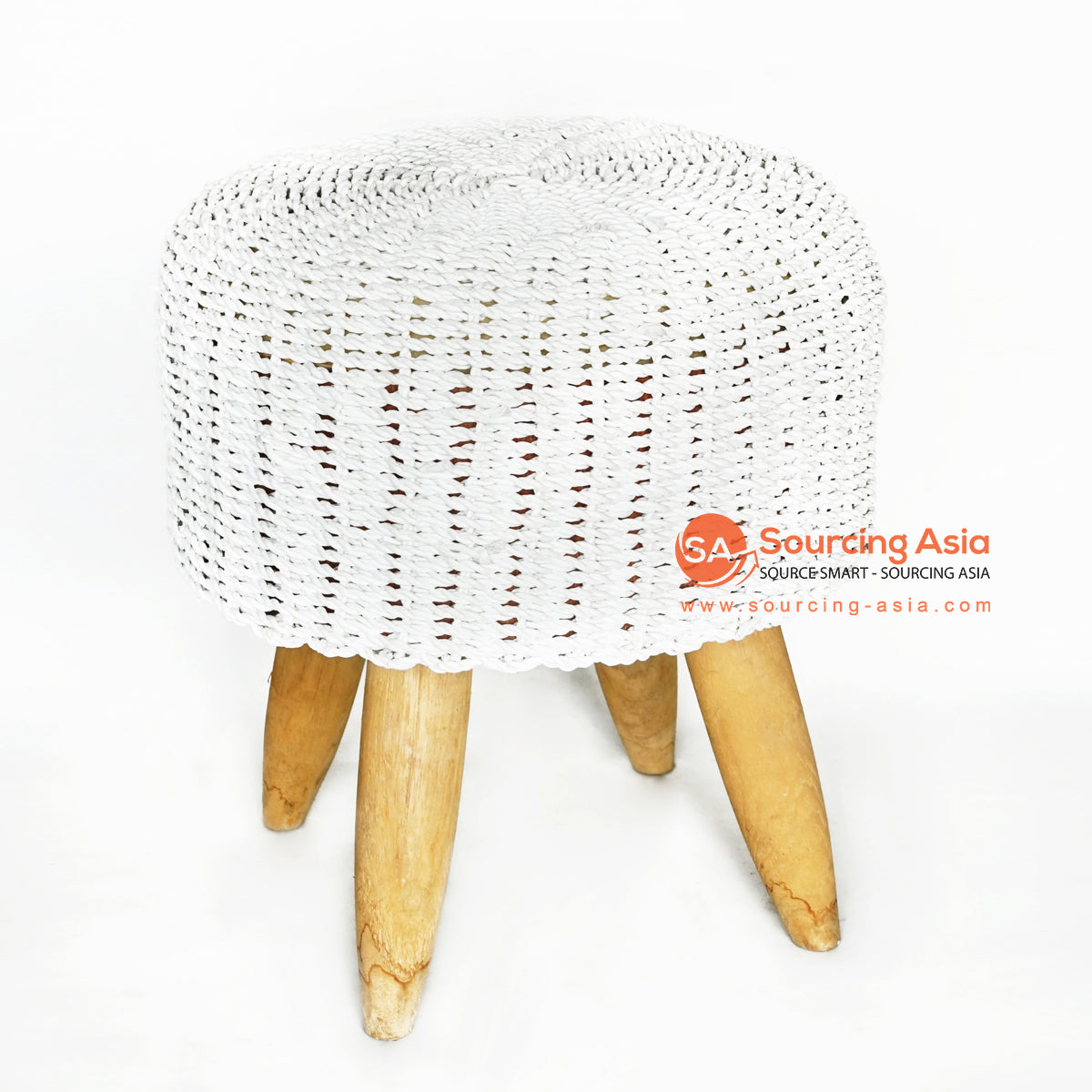 MRC148 WOODEN STOOL WITH WHITE RAFFIA SEAT