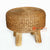 MRC149 WOODEN STOOL WITH NATURAL ROUND WATER HYACINTH SEAT