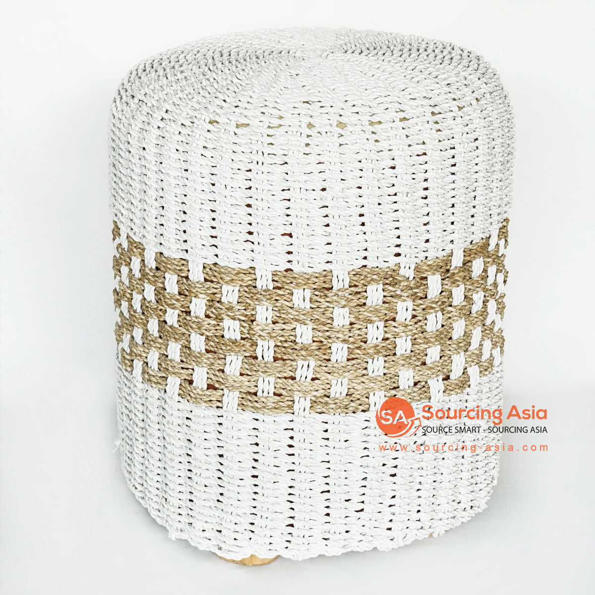 MRC150 WHITE RAFFIA AND NATURAL SEA GRASS SITTING STOOL